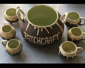 Cauldron Punch Bowl- handmade ceramic bitchcraft set of 6- witches brew- Halloween- functional- ladle- witch craft- Salem- October.