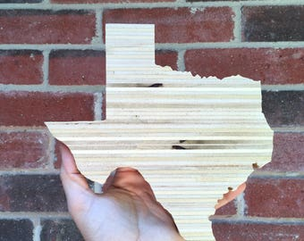 Wooden Texas, Recycled Texas Sign, Texas Wall Art, Stacked Plywood Texas 8""