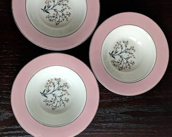 Homer Laughlin Cavalier Eggshell Pink Springtime bowls set of 3