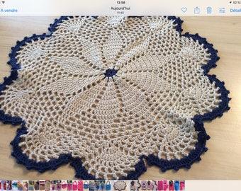 Vintage 100% cotton doily ecru and Navy Blue