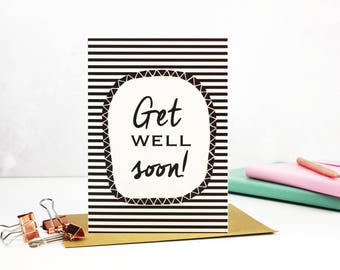 Get Well Soon, get well cards, get well soon cards, get well cards, Get Better card - Blank Inside