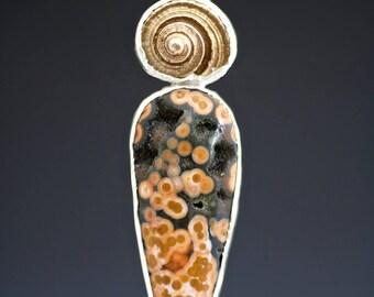 Silver Ocean Jasper Conch Necklace
