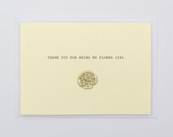 Thank You For Being My Flower Girl Wax Seal Dried Flower Wedding Card