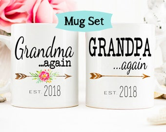 Grandparents AGAIN mug, Pregnancy Reveal Mug, Grandparents again, Baby Announcement, Grandparent Mug, Gift for Grandparents, Grandma mug