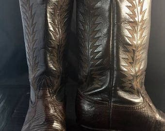 Tony Lama Leather And Exotic Lizard Chocolate Brown Cowboy Boots Men's Size 7 Classic!