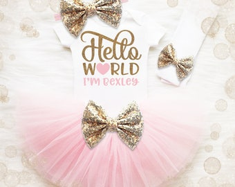 Baby Girl Coming Home Outfit | Hello World Outfit | Personalized Baby Girl | Baby Girl Shower Gift | Baby Name Shirt | Baby Girl Clothes
