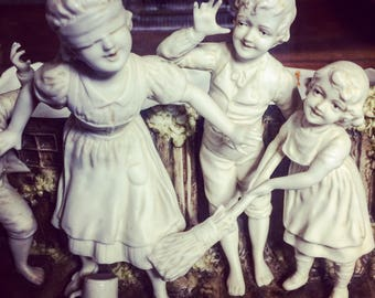 Bisque porcelain. Planter. Flower girl. Duotone. Children. Buff. 1900 s. french antique