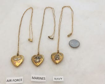 wwII Era Locket Necklaces, ALL CO,- Etched Heart Design with Military Insignia, 3/4 in., 12k GF on Sterling: one Navy left.