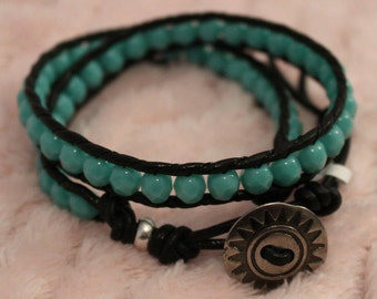 Bracelet. Leather Bracelet. Green Turquoise Czech Fire Polished Beads. Leather Wrap Bracelet. Button Closure. Free Domestic Shipping.