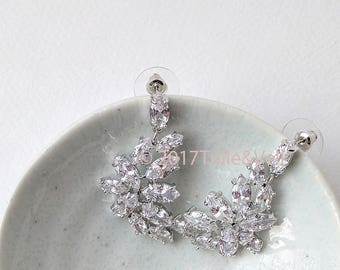Cubic zirconia drop earrings - Elena