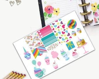 Birthday Theme One Day Small Planner Sticker Set, All Happy Planner Stickers, Stickers, Printed, Cut, Functional Sticker, Holiday, Unicorn