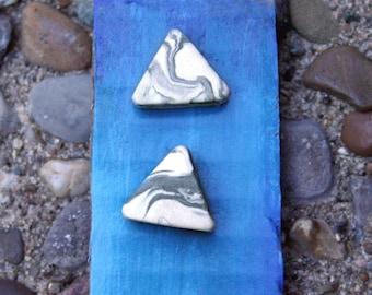 Triangle Geometric Marble Stud Earrings