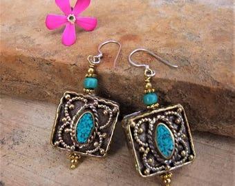 Tibetan earrings. Tibetan Jewelry. Ethnic earrings. Ethnic Jewelry. Tibetan earrings. Ethnic jewelry. Tibetan jewelry.