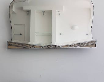 Sunburst Art Deco Mirror With Pearl & Chrome Details Large Living Room Overmantle Mirror Unusual Mirror With Incredible Bevels