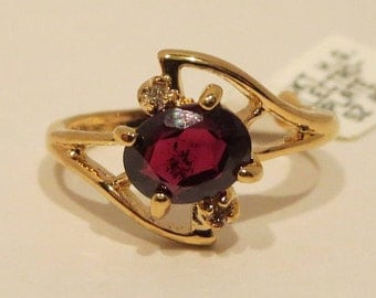 Genuine Garnet And Diamond 14 K Gold Electroplated Ring Size 8 (January Birthstone)