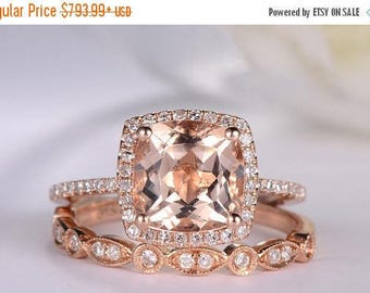 Rose Gold Engagement Ring Cushion Cut Morganite Ring Antique Diamond Wedding Band Women Halo Half Eternity Bridal Set Anniversary Unique