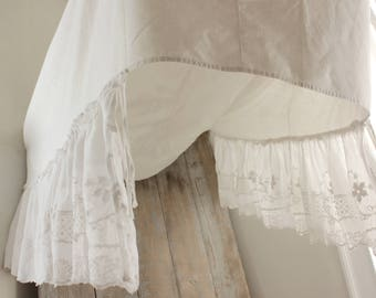 Antique Vintage French bed canopy white lace embroidery cotton netting textile & Bed canopy   Etsy
