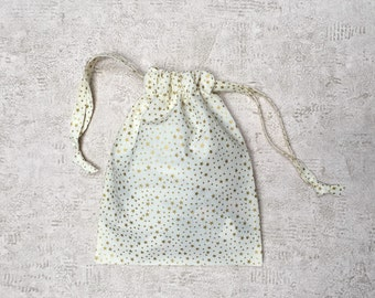 printed white smallbags gold stars - 2 sizes - reusable bags - zero waste