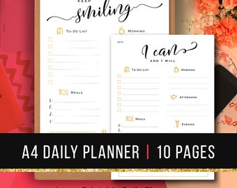 Daily Planner Insert A4 • Printable Daily Planner A4 Daily Organizer A4 Day Planner A4 Productivity Planner A4 Daily Agenda A4 PDF Planner