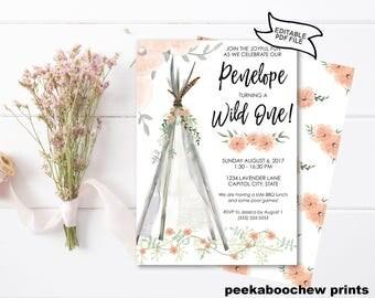 Wild One Birthday Invitation Girls First Birthday Invite Wildflower Tee Pee Teepee Floral EDITABLE PRINTABLE  1st B-Day Boho Bohemian PCWOIS