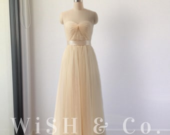 Made to Order Cream Bridesmaid Dress Tulle Strapless Sweetheart Full Length with Satin Sash - Custom Colours - AM039