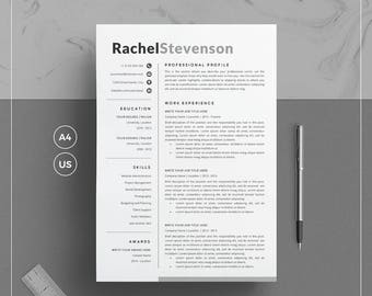 Creative Resume Template/CV Template & Cover Letter + References for Word  | Clean Resume | 4 Pages Pack | Instant Download | RS Resume