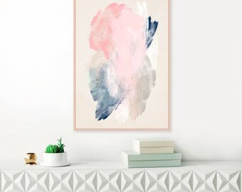Pink and Navy Blue Abstract Art, Pale Pink, Blue and Grey Painting, Large Abstract Art, Modern Printable Wall Art