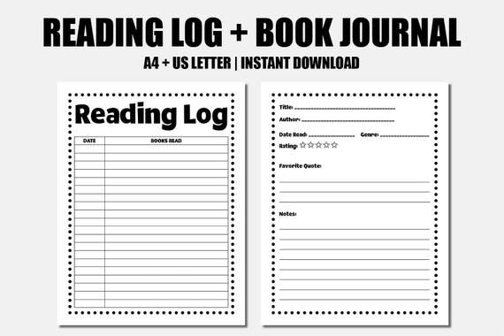 Reading journal - Reading log - Book reviews - Book journal - Reader's diary - Reading printables - Book blogger printable - Reading notes