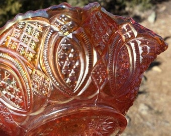 Vintage Imperial Carnival Glass Bowl - Diamond Ring Sauce Bowl - Marigold Ruffled Bowl - Set of 4 Available