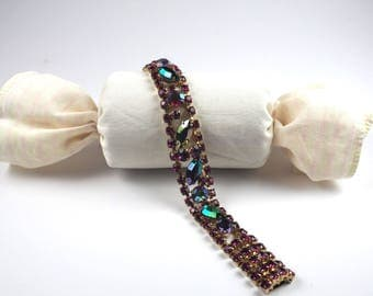 Vintage Bracelet-Rhinestones-Aurora Borealis-purple-elegant-1960s-statement-mid century-Mad Men-Gift