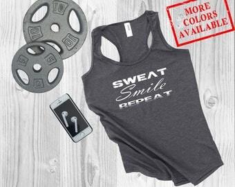 SWEAT. SMILE. REPEAT - Women's Custom Soft-Blend Racerback Inspirational Motivationa Funny Gym Fitness Tank Top Tee