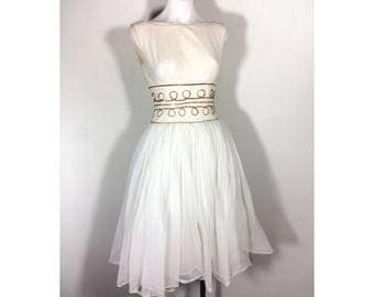 sz. S | 50's party dress / 1950s white nylon tulle dress / ivory sequin full skirt dress / 50s wedding dress / 1950s dress