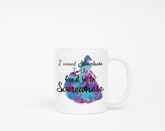 "Beauty and the Beast WaterColor Purple Belle ""I want Adventure in the Great Wide Somewhere"" Quote Mug 11 and 15 Ounce Water Color Belle"