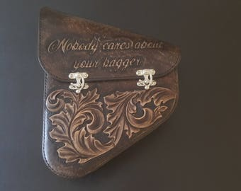 Made to order * Hand tooled leather custom swing bag Free UK Shipping