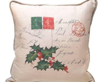 Vintage French Postcard Linen Pillow