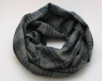 Gray and Navy Infinity Scarf / Plaid Scarf / Flannel Infinity Scarf / Checkered Scarf / Gift for Her / Free Shipping