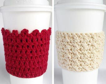 2 Vanessa Vivian / Coffee Cozy Pattern / Easy Coffee Cozy Pattern / Coffee Sleeve Crochet / Crochet Pattern For Beginner / DIY Coffee Cozy