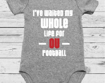 Waiting for OU Football - Baby Onesie - University of Oklahoma Baby - University of Oklahoma - University of Oklahoma Onesie - Sooners