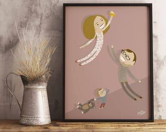 Family of 3 / Custom Family / Family Portrait / Family poster / Family caricature / Family illustration