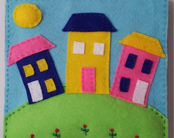Handmade colorful felt picture for kids/baby room