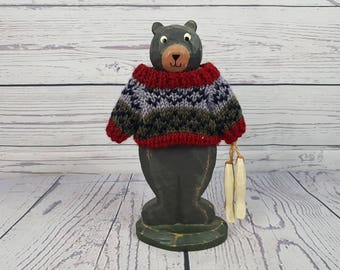 Vintage Bear Wearing Knit Sweater & Holding Fish Wood Hand Carved Statue Wildlife Figure Gift for Fisherman Hunter Hunting Fishing Kitsch