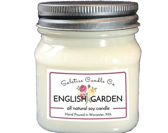 English Garden Soy Candle | Mason Jar Candle | 8 oz | Wood Wick | All Natural | Hand Poured | Floral | Home Decor