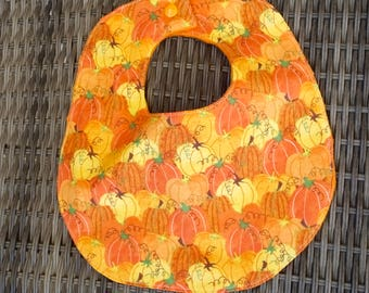 Fall Harvest Pumpkin Bib, Autumn theme gift, Fall Baby Shower, Pumpkin gift, Orange Minky Bib, Baby Bib, pumpkins theme, Fall Baby shower
