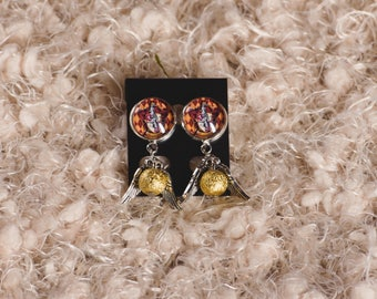 Harry Potter inspired Gryffindor, Ravenclaw, Hufflepuff, Slytherin Hogwarts House Snitch charm earrings