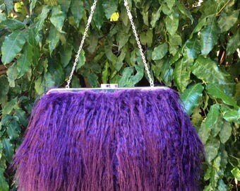 Faux fur clutch bag, Faux fur hand bag, Faux fur purse - Mongolian Purple