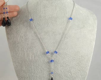 Bead Necklace Y necklace Y choker Lariat Necklace Drop Necklace Lariat Choker Silver Necklace Blue Bead Necklace Drop Earrings Cheap Jewelry