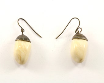 Vintage Creme Color Drop Earrings 925 Sterling Silver ER 905