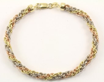 14K Three Color Gold Rope Chain Bracelet GBR 169-E