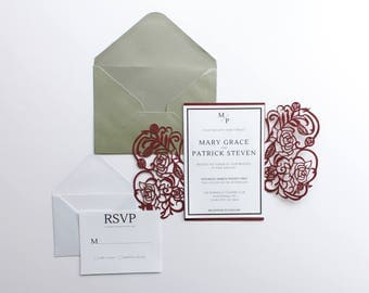 PRINTED Burgundy Laser Cut Wedding Invitation, Minimal Wedding Invitations, Laser Cut Holder, Maroon Wedding, Fall Wedding