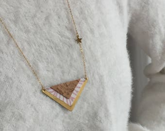 Necklace-necklace-MAYAN-ethnic-leather Cork-wax-triangle